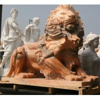 Quality Nature Stone carving lions statue pink marble animal sculpture,stone carving supplier for sale