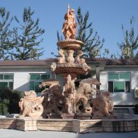 Quality Antique Big Pool Marble Stone Garden Fountain with Poseidon Horses and Lions Statues for sale