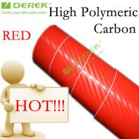 Quality High Polymeric Carbon Fiber Vinyl Car Wrapping Film - Red for sale