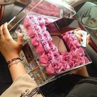 Buy cheap Wedding decoration acrylic flower display container / clear acrylic rose box with lid from wholesalers