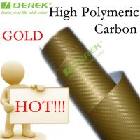 Quality High Polymeric Carbon Fiber Vinyl Car Wrapping Film - Gold for sale