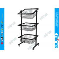China Black Slanted Baskets Wire Display Stands For Retail Store Use on sale