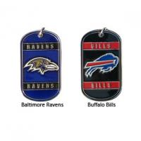 China Zinc Alloy Cast Metal Dog Tags With Embossed And Color Filled NFL Team Logos on sale