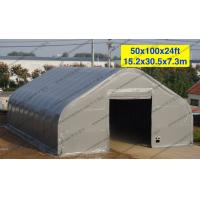 Quality Temporary Curved Aircraft Tent Aluminum Frame Gray PVC Cover 10 x 30m for sale