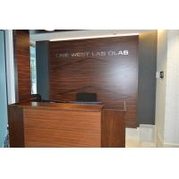 Quality Wooden reception desk and decorative background wall in high glossy painting Walnut plywood board for sale