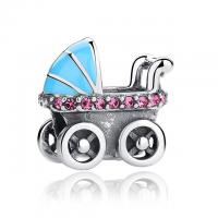 Quality Baby Stroller Blue Car Shaped 925 Sterling Silver Beads And Charms With Pink Clear CZ for sale