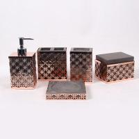 Quality Gold Concrete Toothbrush Holder With Metal Mesh / 5 Pcs Resin Bathroom Set for sale