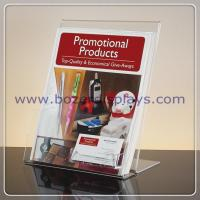 Best Slant-back Clear Acrylic Literature Holder With Business Card Pocket wholesale