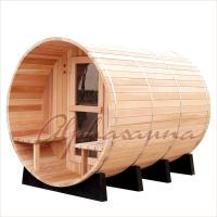 Best Outdoor 7foot by 7 foot for 3-4 Person Red Cedar Barrel Sauna Room With Harvia Elecrical sauna heater wholesale