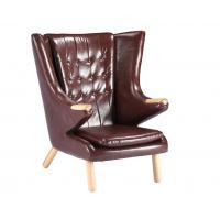 Quality Living Room Leather Lounge Chair / Papa Bear Chair Soft Feeling With Ottoman for sale