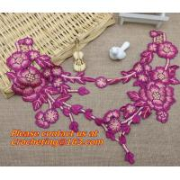 Quality Diy sewing accessories handmade embroidered peony Flower Patch 3D flower motif applique for sale