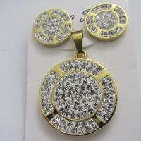 Fashion Gold Stainless Steel Crystal Jewelry Sets for Women