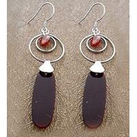 Best Fashion exquisite craft Sterling silver gemstone earring jewelry with agate wholesale