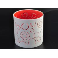 China Decorative Red Ceramic Candle Holder Spraying For Home Votive on sale