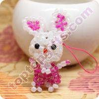China mini 3d beaded rabbit pendant diy seed bead charm on sale