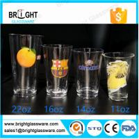 Best clear 22oz 16oz 14oz 11oz water glass tumbler with customized decal logo wholesale