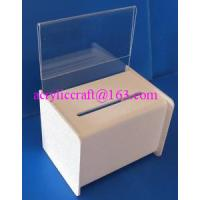 China Acrylic PMMA Donation Box Collection Box Suggestion Box With Sign Holder on sale