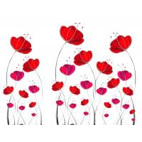 Buy cheap Red Flowers Bamboo Fiber Decorative Wall Panel Sheets Environment Friendly from wholesalers