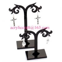 Quality Plastic Display Rack Black Acrylic Display Stand For Earrings for sale
