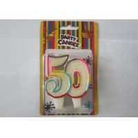 Buy Smokeless Glitter Rainbow Outline Number 50 Birthday Cake Candles For Anniversary at wholesale prices