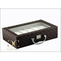 China Carrying Leather Watch Storage Box , Tempering Glass Box Cover 12 Slot Watch Box on sale