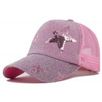 Quality Star Pattern Womens Bling Trucker Hats Pink / Blue Snapback OSFA Size Good Shape for sale