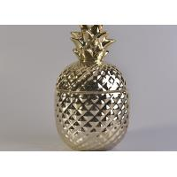 Best Popular Gold Ceramic Candle Jars , Pineapple Shaped Ceramic Candle Holders With Lids wholesale