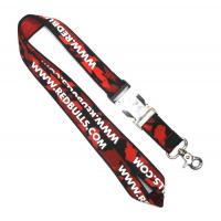 Black And Red Custom Woven Lanyards With Snap Hook For Ticket Holder