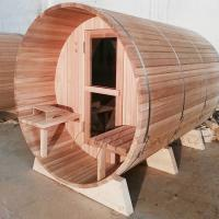 Best 4-6 Person  Wood fired Barrel sauna  Red Cedar Outdoor barrel sauna for sales Nordic type life wholesale