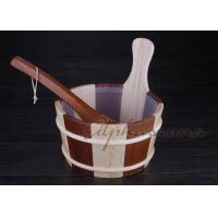 Best ISO 1 Gallon wooden sauna bucket and ladle Spruce and red cedar together wholesale