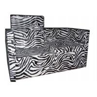 Quality Zebra Style PU Salon Waiting Chairs 2 Seat With Painting Steel Foot , 53cm Depth for sale