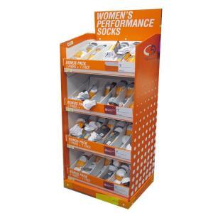 China Folding Cardboard Display Stands / Cardboard Floor Display Stands For Socks Merchandising on sale