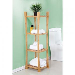 China wooden bamboo floor shelf for bathroom on sale