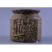 China Nut Pattern Ceramic Storage Jar / 440ml ceramic candle lantern With Rubber Foot on sale