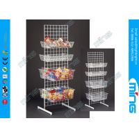 China Chrome Metal Wire Display Rack Grid Wall with 8 Baskets , White on sale