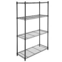 Quality 4 Tier Carbon Steel Adjustable Mobile Metal Display Racks , Black Powder Coating Easy Assembly  Metal Shelf with Casters for sale