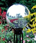 China Silve Crystal Quartz Spheres Middle glass  Gazing Ball Stands  with tall plant on sale