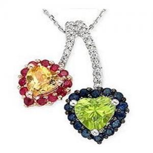 China Sapphire & Ruby & Citrine & Peridot & Diamond Pendant on sale