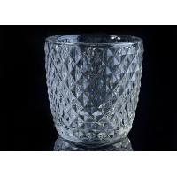 Quality Diamond Shape decorative candle holders Embossed glass tealight candle holders for sale