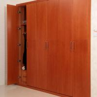 Best Wine Red Five Open Hinged Door Wardrobes With Drawer / Clothes Hanger Eco - friendly wholesale