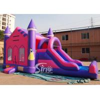 Quality 4in1 pink kids party inflatable princess bounce house with slide from Guangzhou Inflatable factory for sale