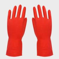 China Red Household Rubber Gloves FOR office cleaning , women gloves on sale