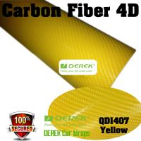 Quality 4D Glossy & Shiney Carbon Fiber Vinyl Wrapping Films--Yellow for sale