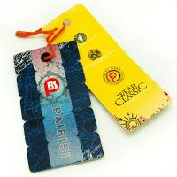 China Bright Color Custom Shaped Clothing Hang Tags , Product Swing Tags For Jeans on sale