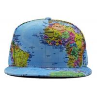 Buy cheap World Map Printed Snapback Baseball Caps Sky Blue Adjustable Size For Hip Hop from wholesalers