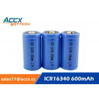 China 16340 650mAh 3.7V li-ion battery / cylindrical rechargeable battery for LED flashlight on sale