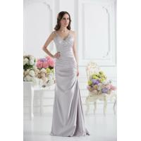 Quality Sexy Silver V Neckline Strap Mermaid Long Evening Dress Prom Gowns Beads for sale