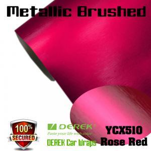 Quality Matte Metallic Brushed Vinyl Wrapping Film - Matte Metallic Brushed Rose Red for sale