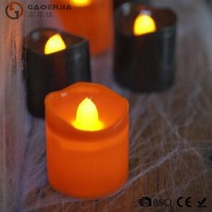 China Black Orange Plastic Halloween LED Tea Light Candles 6 Set RoHS on sale