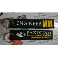 Buy cheap Engineer 4 Bars Pakistan International Aviation Great People to Fly With Aviation Embroidered Key Chain Keyrings from wholesalers